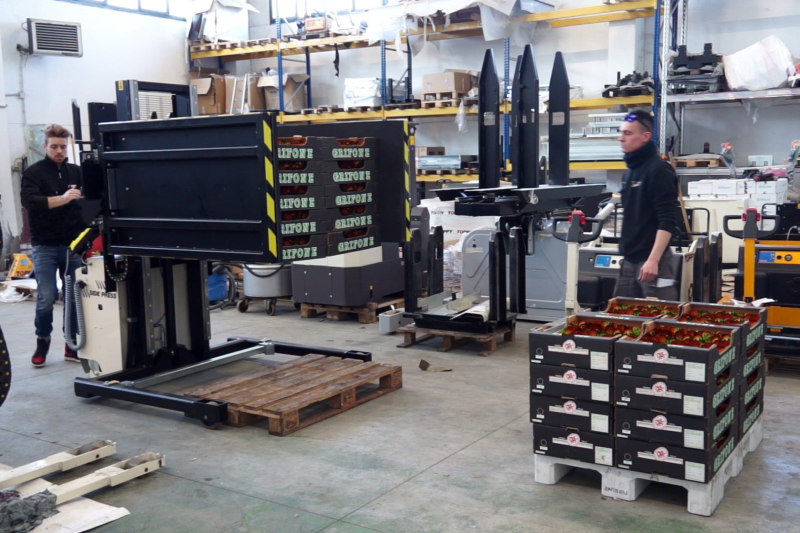 Mobil pallebytter med Side Press og split funktion Wide Base