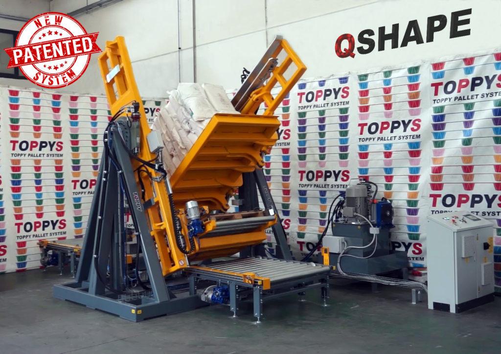 Pallebytter Q-SHAPE In-line system. Effektiv og hurtig udskiftning af paller. Pladsbesparende
