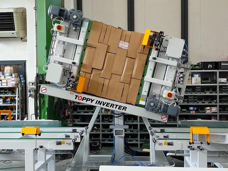 Fuldautomatisk pallevender In-line løsning. Når produktet skal vendes 180 grader