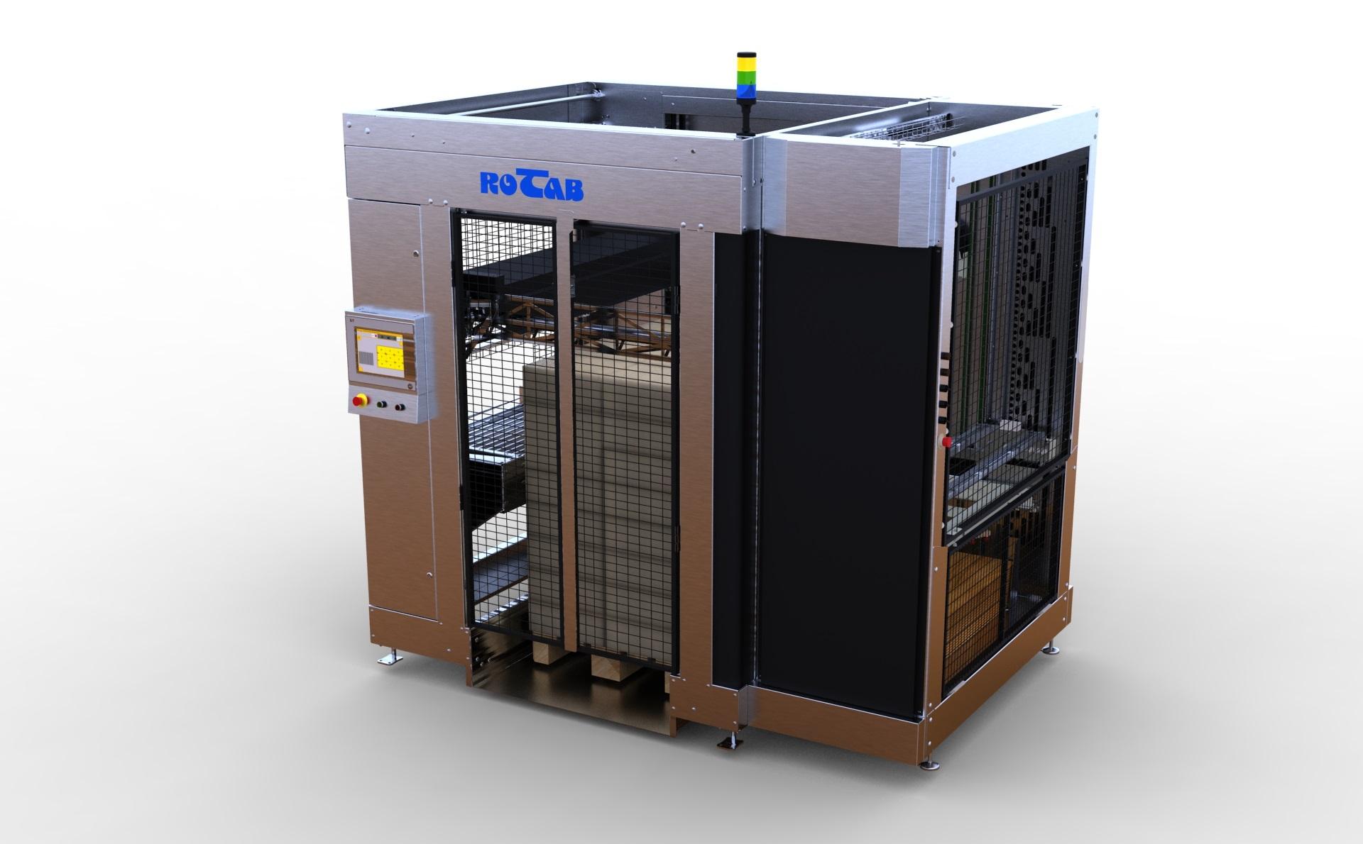 EasyLink Cube Palletiser. Halvautomatisk pallelaster med integreret ark pålægger