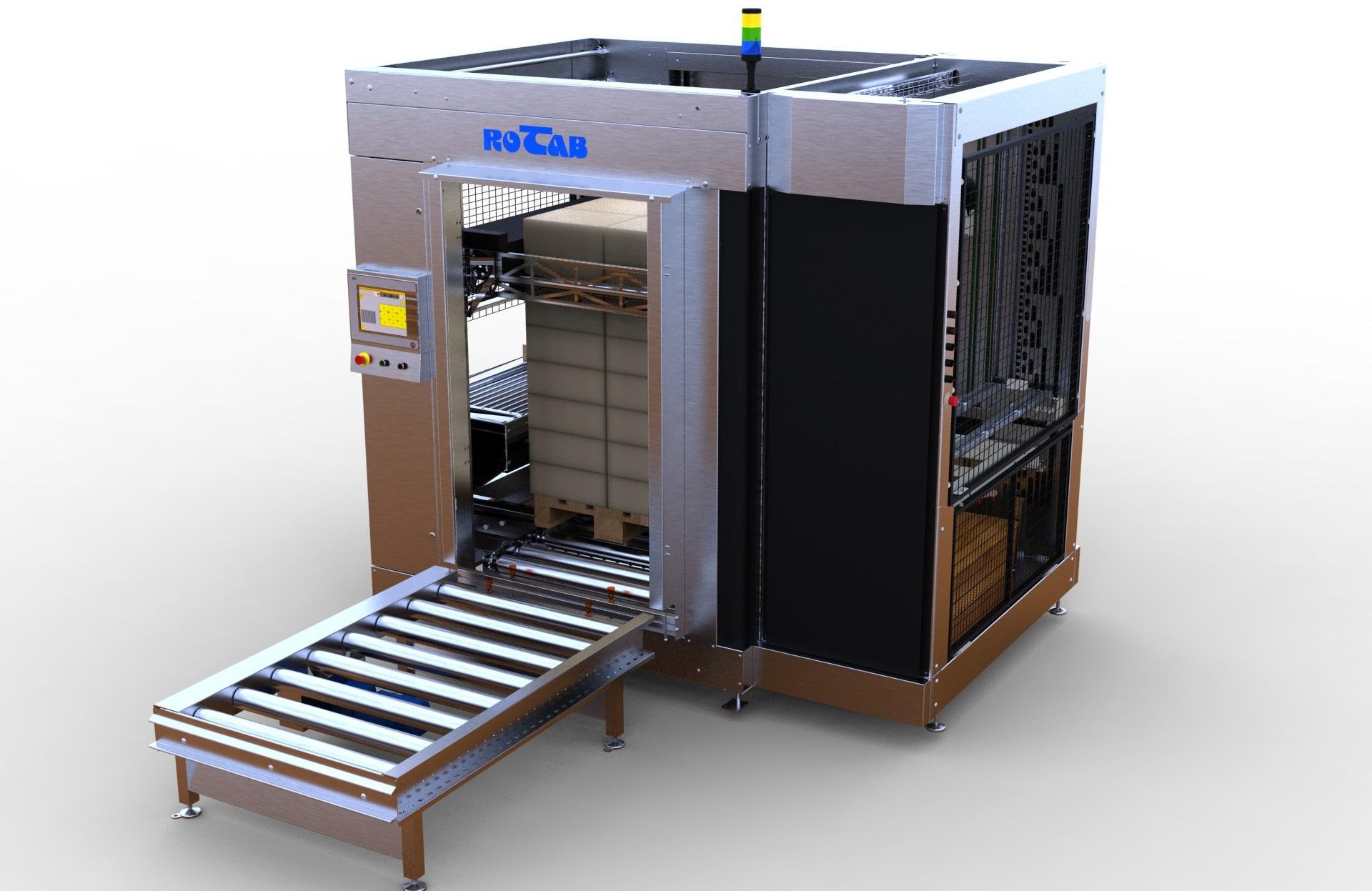 EasyLink Cube Palletiser. Fuldautomatisk pallelaster med integreret ark pålægger